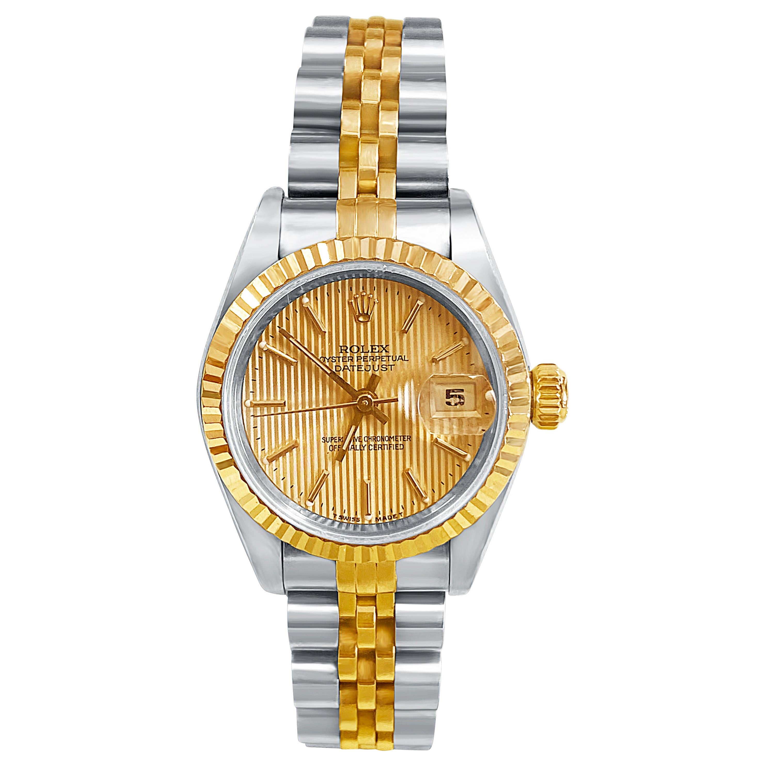 Rolex Ladies DateJust Gold Dial with Two Tone Jubilee Band