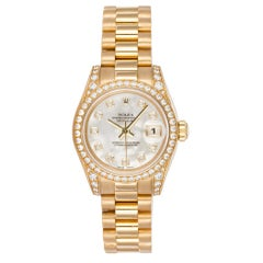 Rolex Ladies Datejust President 18k Yellow Gold & All Factory Diamond 179158 MOP