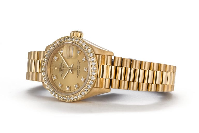 Contemporary Rolex Ladies Datejust President 18 Karat Yellow Gold and Diamond 69178 For Sale