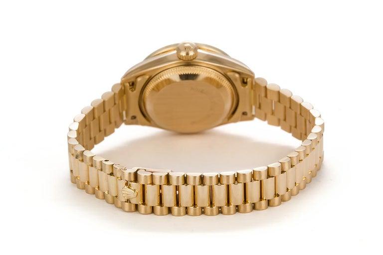 Round Cut Rolex Ladies Datejust President 18 Karat Yellow Gold and Diamond 69178 For Sale
