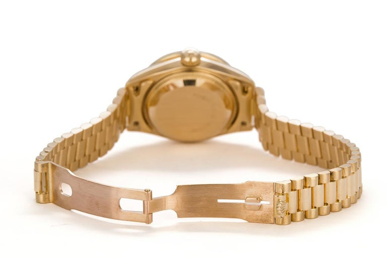 Rolex Ladies Datejust President 18 Karat Yellow Gold and Diamond 69178 In Good Condition For Sale In Tustin, CA