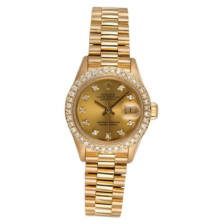 Rolex Ladies Datejust President 18 Karat Yellow Gold and Diamond 69178 For Sale