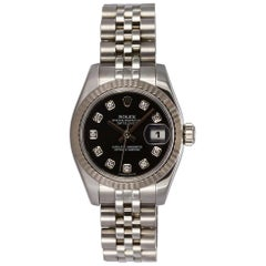 Rolex Ladies Datejust Stainless Steel 179174 Diamond Dial Box and Papers