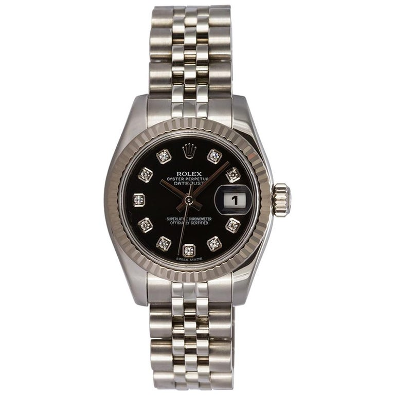 Rolex Ladies Datejust Stainless Steel 179174 Diamond Dial Box and Papers For Sale
