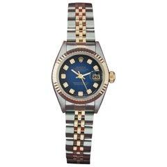 Rolex Ladies Datejust Steel, 18 Karat Yellow Gold Blue Diamond Box, Paper, Book