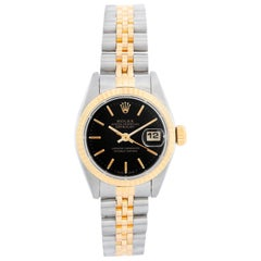 Rolex Ladies Datejust Steel and Gold Watch 69173 Black Dial