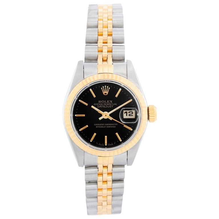 Rolex Ladies Datejust Steel and Gold Watch 69173 Black Dial For Sale