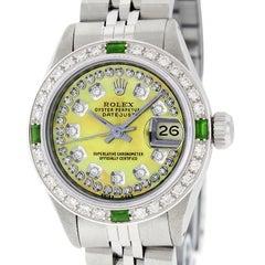 Rolex Ladies Datejust Watch Steel/18 Karat Gold Yellow MOP Diamond Dial Emerald