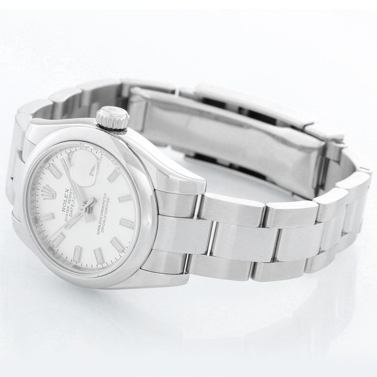 Rolex  Ladies Datejust Watch Steel with Silver Dial  179160 - Automatic winding; 31 jewel; sapphire crystal. Stainless steel case with smooth bezel (26mm diameter). Silver dial with stick hour markers. Stainless steel Oyster bracelet. Pre-owned with