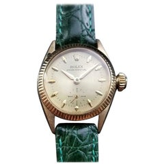Rolex Ladies Luxurious 18k Gold Oyster Perpetual 6509 Automatic c.1950s LV865GRN