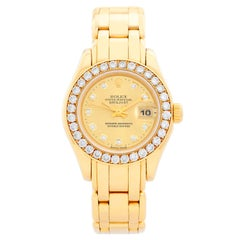 Rolex Ladies Masterpiece/Pearlmaster Gold Diamond Watch 69298