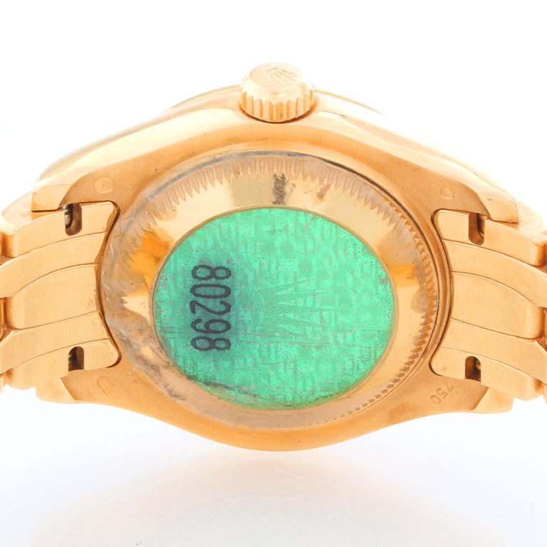 Women's Rolex Ladies Masterpiece/Pearlmaster Gold Mother of Pearl Diamond Watch 80298/ 6 For Sale