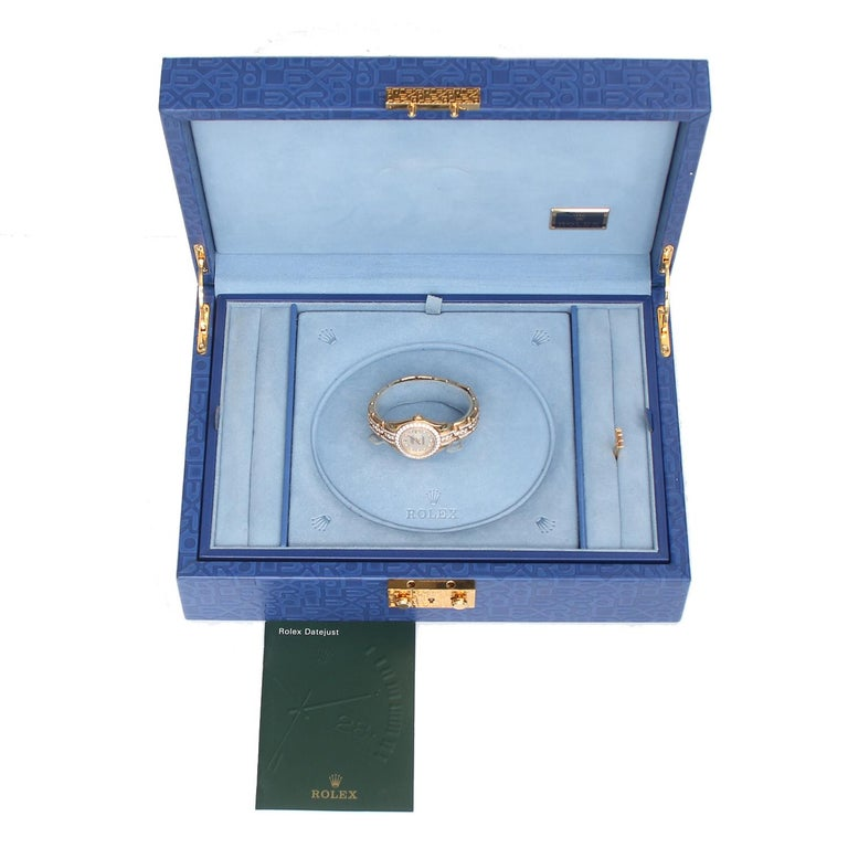 Rolex Ladies Masterpiece/Pearlmaster Gold Mother of Pearl Diamond Watch 80298/ 6 For Sale 1