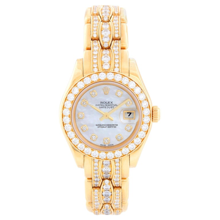 Rolex Ladies Masterpiece/Pearlmaster Gold Mother of Pearl Diamond Watch 80298/ 6 For Sale