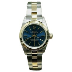 Rolex Ladies Oyster Perpetual 76183 Blue Dial 18 Karat Gold and Stainless Steel