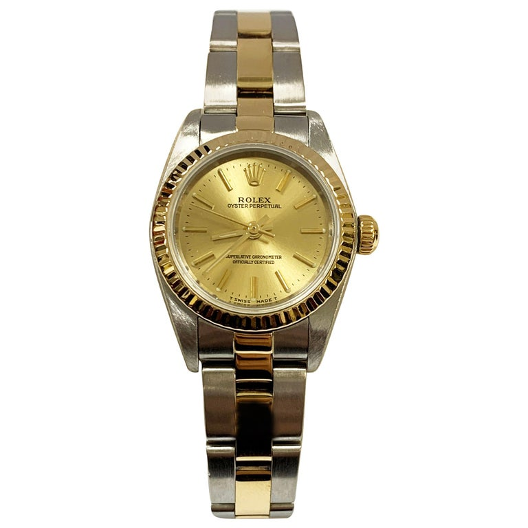 Rolex Ladies Oyster Perpetual 76193 18 Karat Gold Stainless Steel Box Papers For Sale