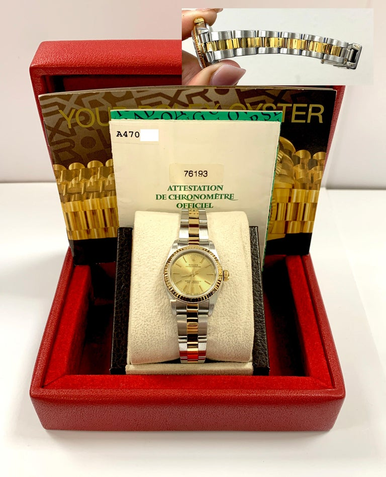 Rolex Ladies Oyster Perpetual 76193 18 Karat Gold Stainless Steel Box Papers For Sale 6