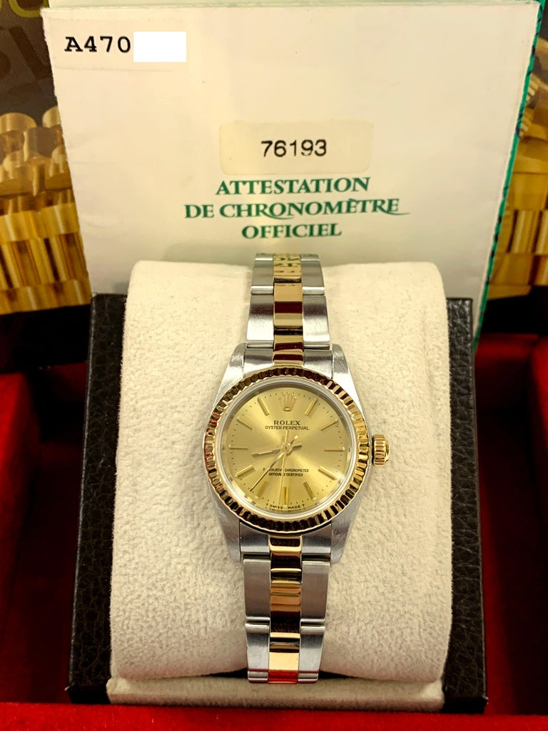 Rolex Ladies Oyster Perpetual 76193 18 Karat Gold Stainless Steel Box Papers For Sale 8