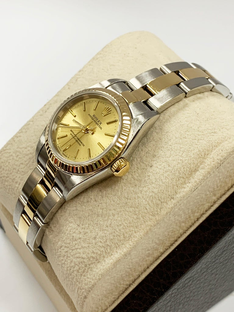Rolex Ladies Oyster Perpetual 76193 18 Karat Gold Stainless Steel Box Papers In Good Condition For Sale In San Diego, CA