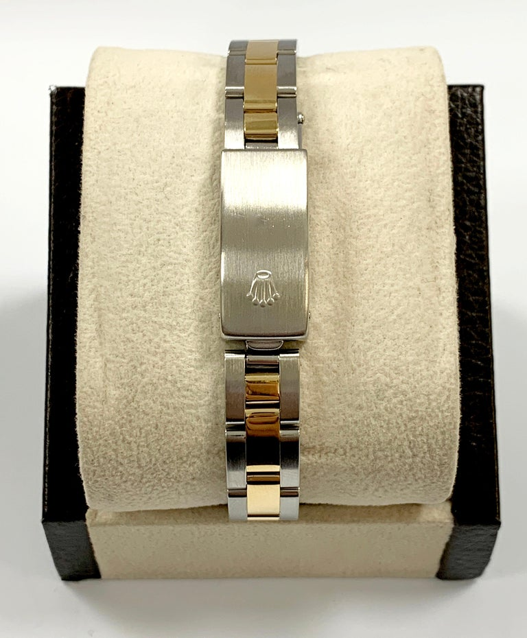 Rolex Ladies Oyster Perpetual 76193 18 Karat Gold Stainless Steel Box Papers For Sale 1