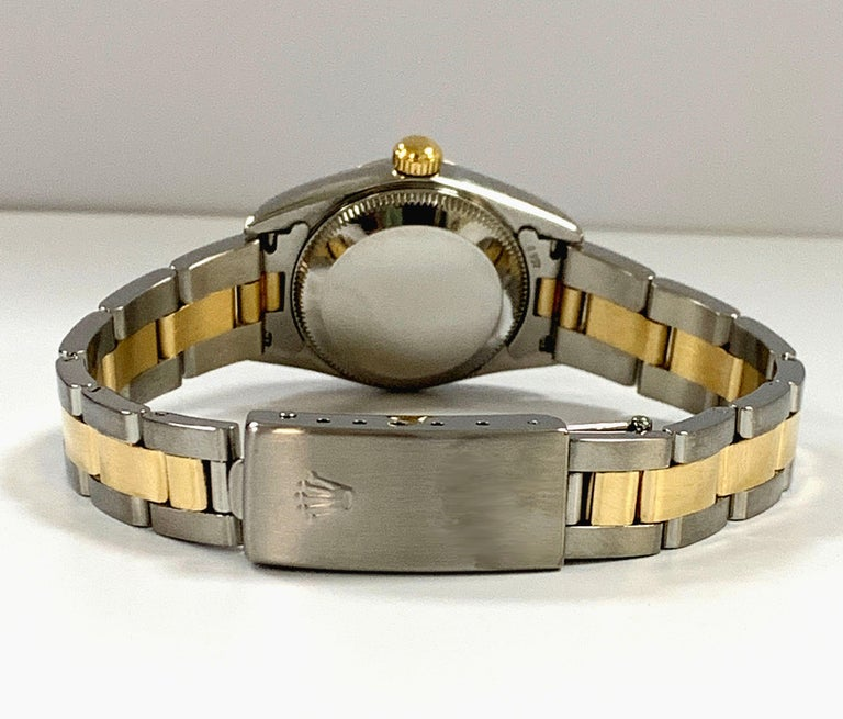 Rolex Ladies Oyster Perpetual 76193 18 Karat Gold Stainless Steel Box Papers For Sale 2