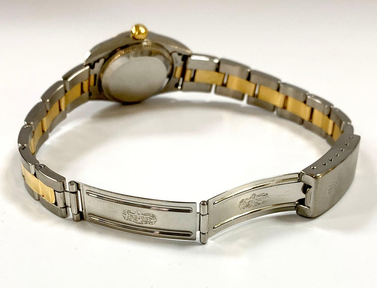 Rolex Ladies Oyster Perpetual 76193 18 Karat Gold Stainless Steel Box Papers For Sale 3