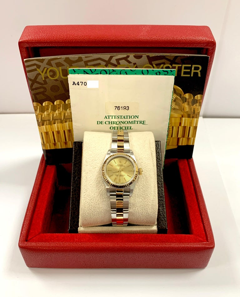 Rolex Ladies Oyster Perpetual 76193 18 Karat Gold Stainless Steel Box Papers For Sale 5