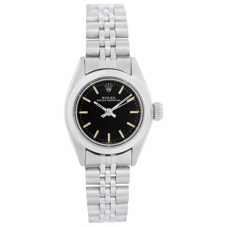 Rolex Ladies Oyster Perpetual No-Date Stainless Steel Watch 6718 For Sale