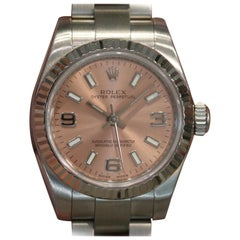 Rolex Ladies Oyster Perpetual Pink Dial Steel 18 Karat White Gold Fluted Bezel
