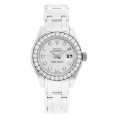 Rolex Ladies Pearlmaster 18 Karat White Gold Watch 80299