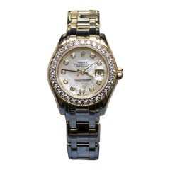 Rolex Ladies Pearlmaster 80298 MOP Diamond Dial & Bezel 18K Gold Box Paper
