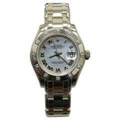 Rolex Ladies Pearlmaster 80318 MOP Dial 12 Diamond Bezel 18 Karat Gold