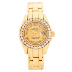 Rolex Ladies Pearlmaster Myriad Roman Diamond Dial 69298
