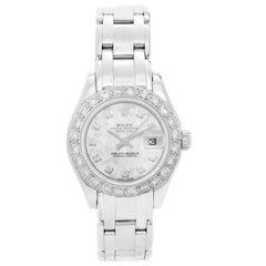 Rolex Ladies White Gold Diamond Pearlmaster Automatic Wristwatch Ref 69319