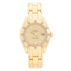 Rolex Ladies Pearlmaster Yellow Gold and Diamond Watch 69318