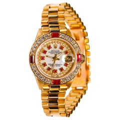 Rolex Ladies President 18 Karat Gold Ruby Watch Mother of Pearl Diamond Dial