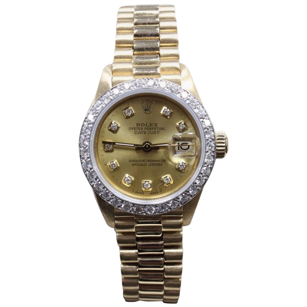 Rolex Ladies President 18 Karat Yellow Gold 6917 Diamond Dial and Diamond  Bezel