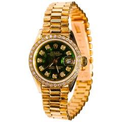 Rolex Ladies President 18 Karat Yellow Gold Green Mother of Pearl Diamond Dial