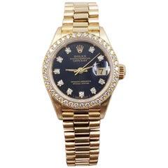 Rolex Ladies President 69138 18K Gold Original Diamond Dial and Bezel Box Papers