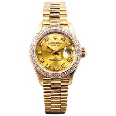 Rolex Ladies President 69178 Champagne Diamond Dial Bezel 18 Karat Yellow Gold