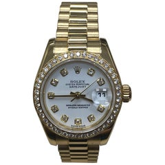 Rolex Ladies President Datejust 179138 Diamond Dial Bezel 18K Gold Box Paper