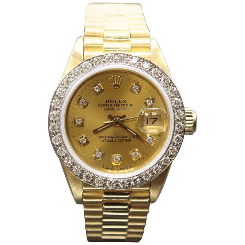 Rolex Ladies President Datejust 18 Karat Gold 69168 Diamond Dial and Bezel