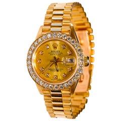 Rolex Ladies President Datejust 18 Karat Gold Custom Diamond Dial and Bezel