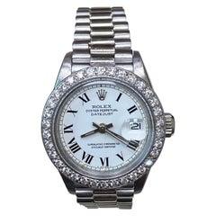 Rolex Ladies President Datejust 6917 18 Karat White Gold Diamond Bezel