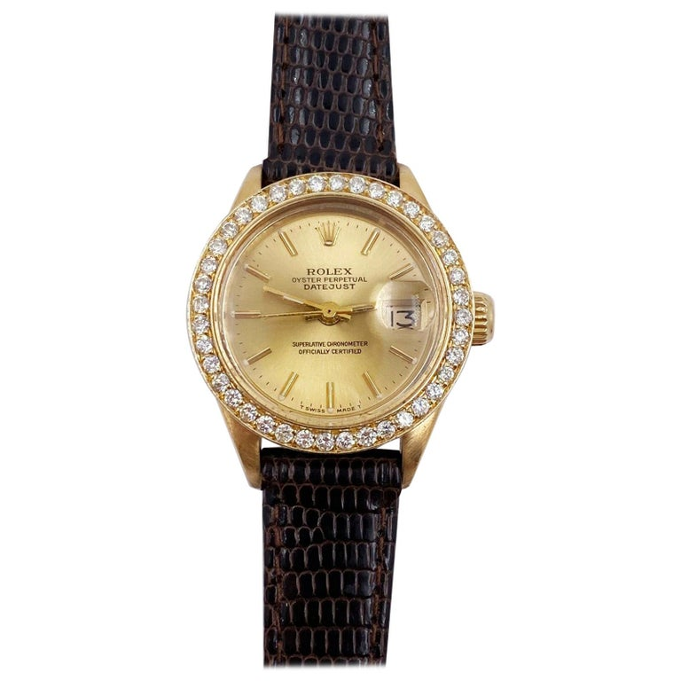 Rolex Ladies President Datejust 6917 Diamond Bezel 18 Karat Yellow Gold For Sale