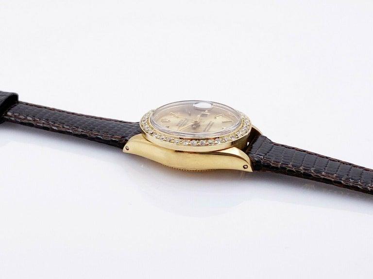 Rolex Ladies President Datejust 6917 Diamond Bezel 18 Karat Yellow Gold In Good Condition For Sale In San Diego, CA
