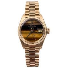 Rolex Ladies President Datejust 6917 Tiger Eye Dial 18 Karat Yellow Gold, 1979