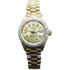 Rolex Ladies President Datejust 69178 Diamond Bezel and Champagne Diamond Dial