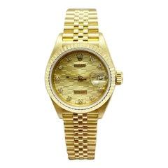 Rolex Ladies President Datejust 69178 Rare Chevrolet Dial 18 Karat Gold Mint