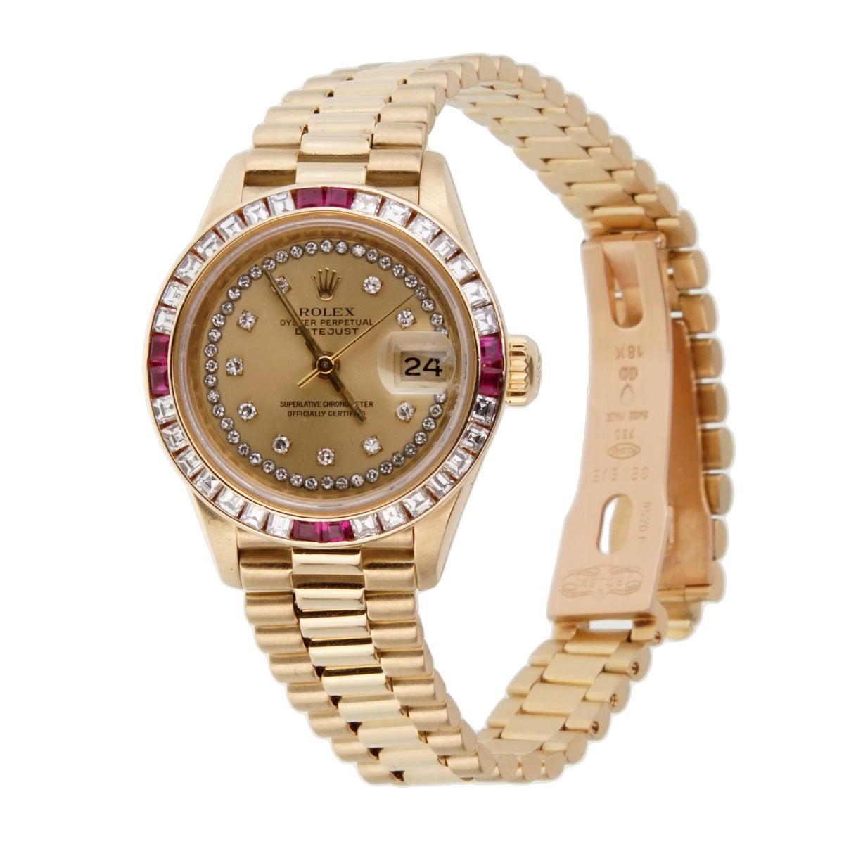 Rolex Ladies President Diamond Ruby Gold Watch